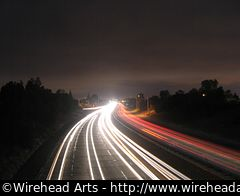 The CA-85 highway at night.