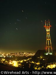 The Sutro Tower at night, complete with star trails.
